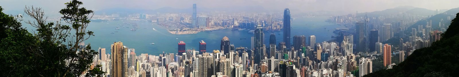 Hong Kong Island at Day with View from the Peak